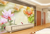 Trang trí nhà cổ điển với tranh dán tường 3D hoa sen