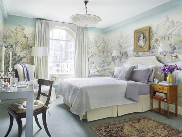 Phòng ngủ lãng mạn với mẫu giấy dán tường siêu ấn tượng