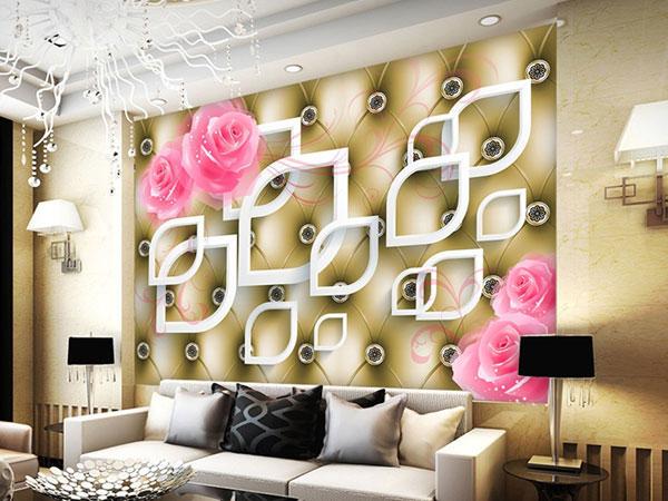 Sử dụng giấy dán tường cho phòng khách hiện đại