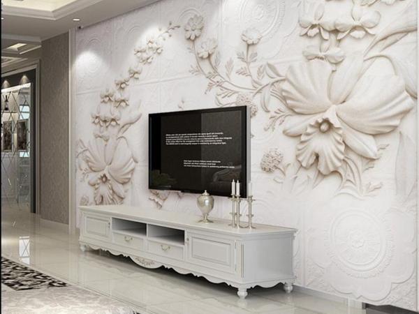 Trang trí phòng khách với giấy dán tường Hàn Quốc