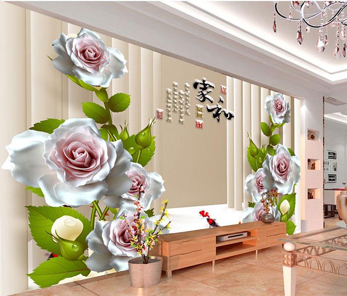 Tranh dán tường hoa giả ngọc dán phòng khách